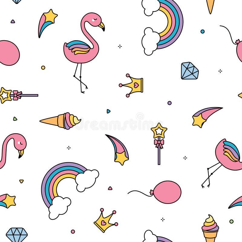 Fundo sem emenda do branco do teste padrão do flamingo, dos arcos-íris e das estrelas ilustração stock