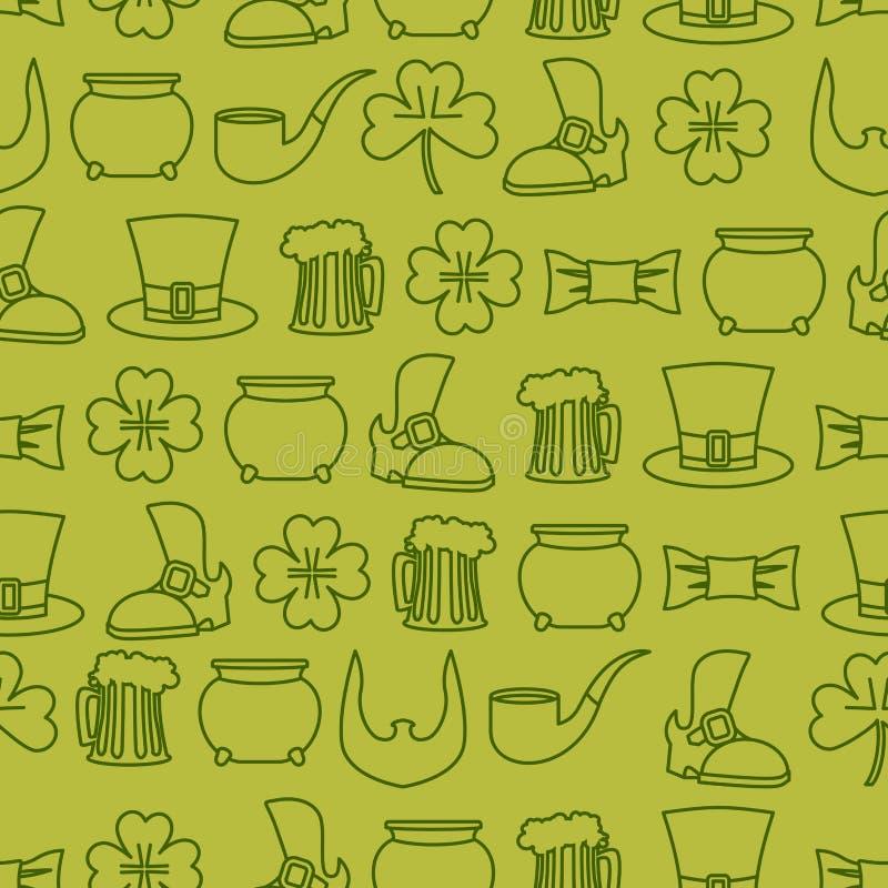 Fundo sem emenda do dia de Patricks teste padrão de uma sapata e de uma caneca velhas ilustração do vetor