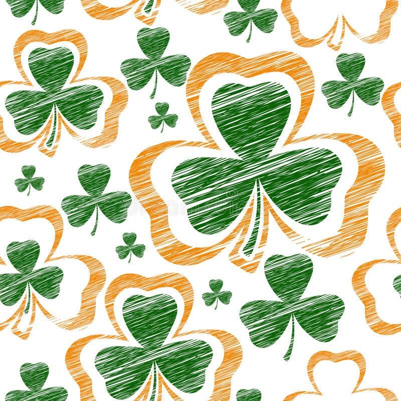 Fundo sem emenda do dia de St Patrick com trevo Ilustração do vetor ilustração do vetor