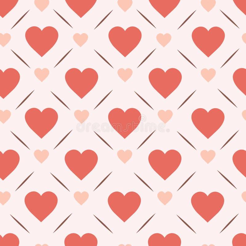 Fundo sem emenda do dia de Valentim de Vinatge do projeto do teste padrão dos corações retros ilustração stock