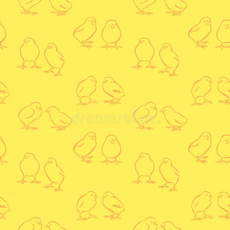Fundo sem emenda do dia feliz da P?scoa Galinhas amarelas bonitos do vetor Mão decorativa pintainhos tirados teste padrão, estilo ilustração do vetor