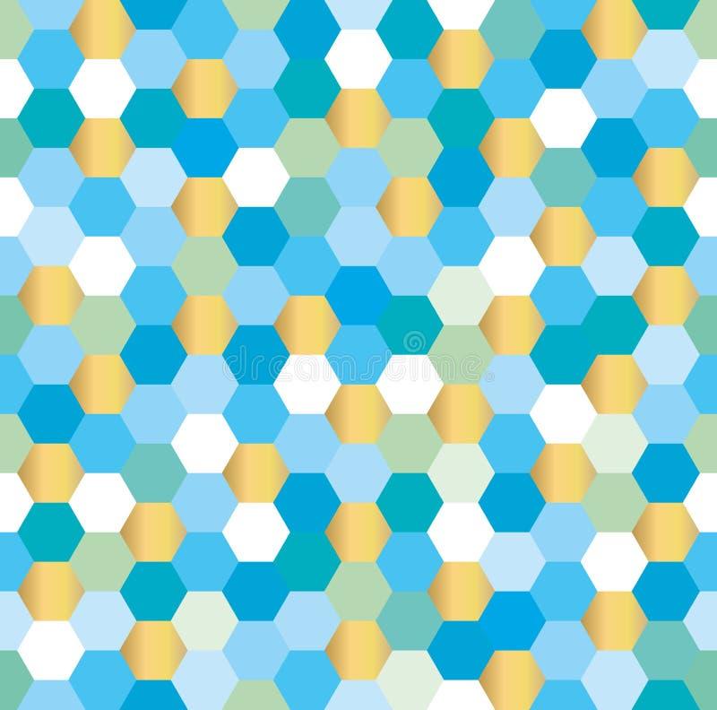 Fundo sem emenda do hexágono no azul e no ouro ilustração royalty free