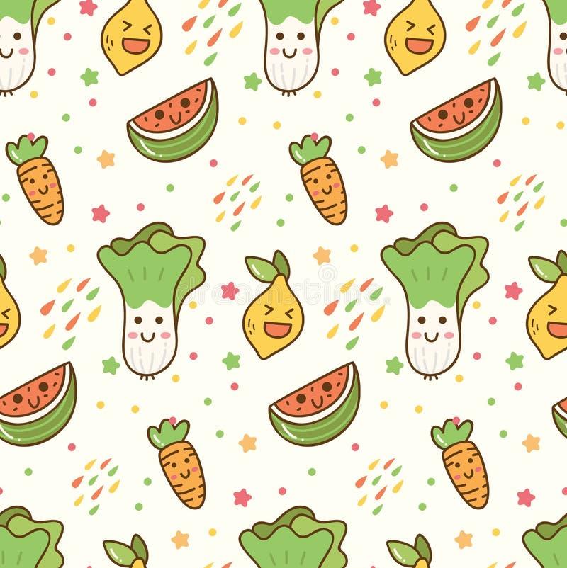 Fundo sem emenda do kawaii das frutas e legumes dos desenhos animados ilustração stock