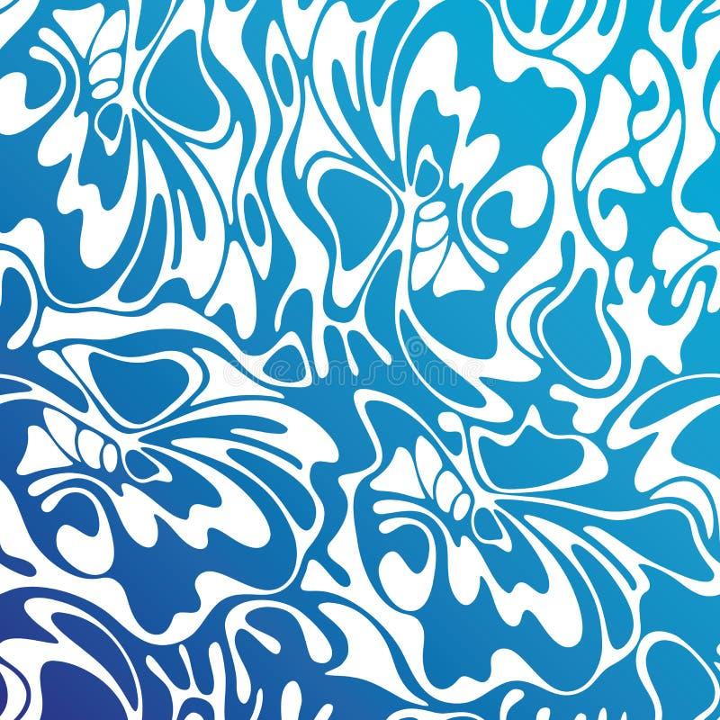 Fundo sem emenda do mar do redemoinho da cor do vetor Floral abstrato azul ilustração royalty free