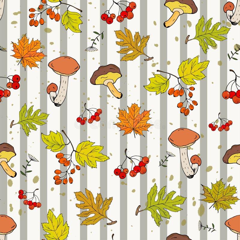 Fundo sem emenda do outono com cogumelos, folhas e frutos de Rowan e do espinho em um fundo listrado ilustração royalty free