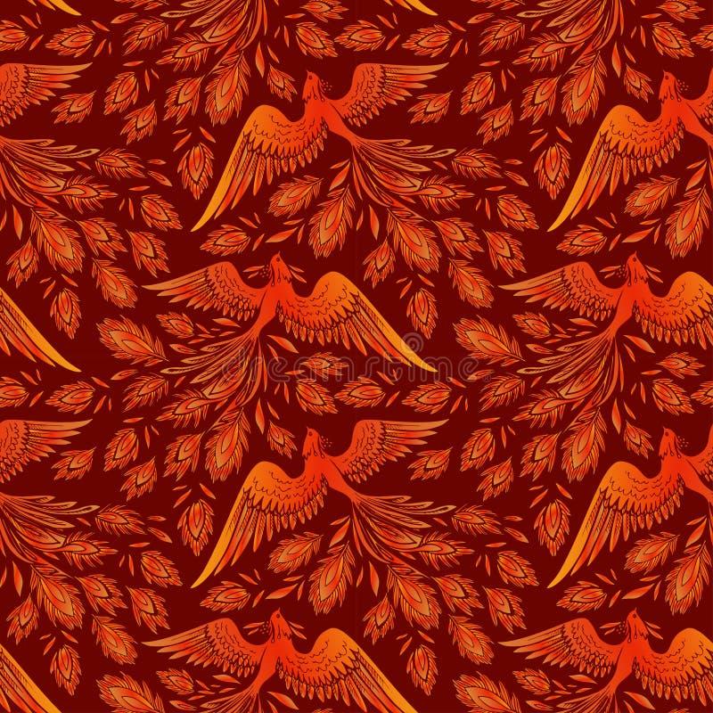 Fundo sem emenda do p?ssaro do fogo de Phoenix O estilo japon?s e chin?s da tatuagem tirada m?o de Phoenix, legenda do Firebird ? ilustração stock