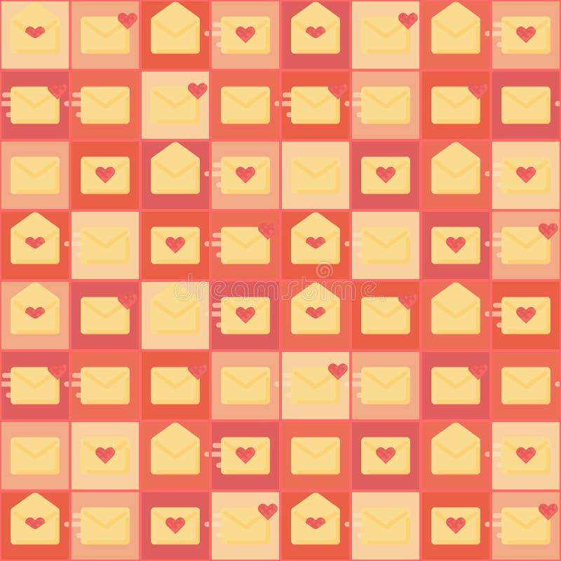 fundo sem emenda do papel de parede do papel de embrulho do teste padrão do correio de carta de amor ilustração royalty free