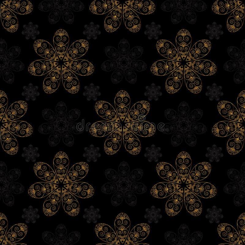 Fundo sem emenda do preto do teste padrão da mandala dourada ilustração royalty free