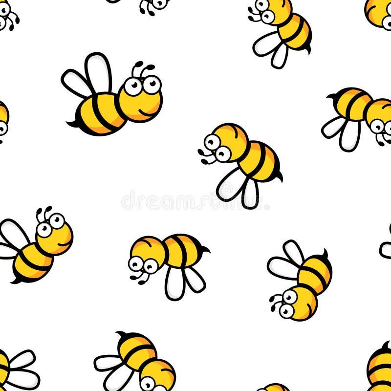Fundo sem emenda do teste padrão do ícone da abelha dos desenhos animados Conceito v do negócio ilustração do vetor