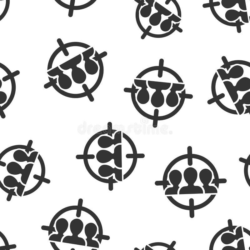 Fundo sem emenda do teste padrão do ícone do público-alvo Foco na ilustração do vetor dos povos Teste padrão do símbolo dos recur ilustração stock