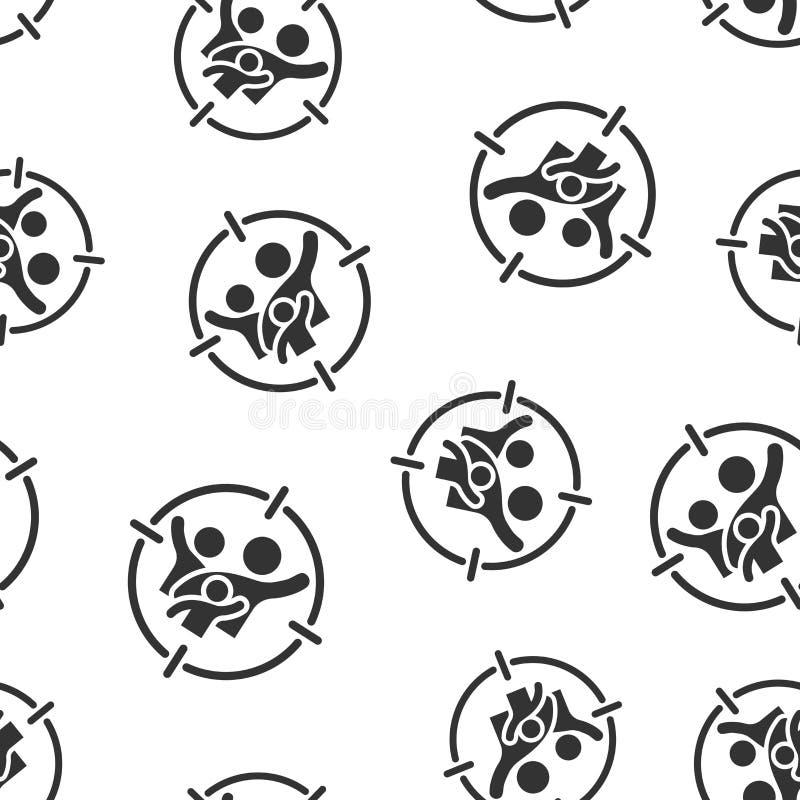 Fundo sem emenda do teste padrão do ícone do público-alvo Foco na ilustração do vetor dos povos Teste padrão do símbolo dos recur ilustração do vetor