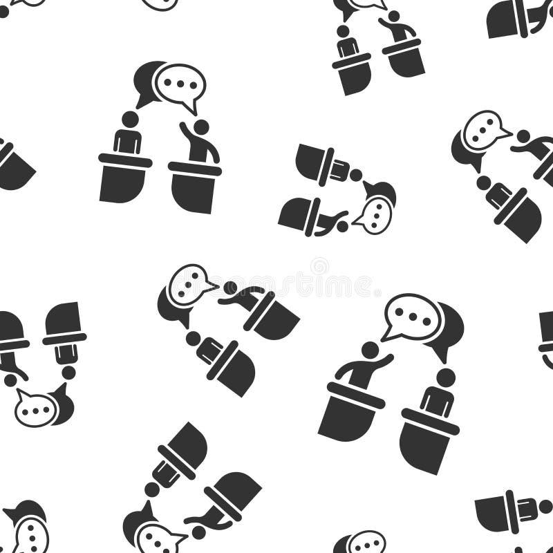 Fundo sem emenda do teste padrão do ícone político do debate Ilustração presidencial do vetor dos debates Teste padrão do símbolo ilustração stock