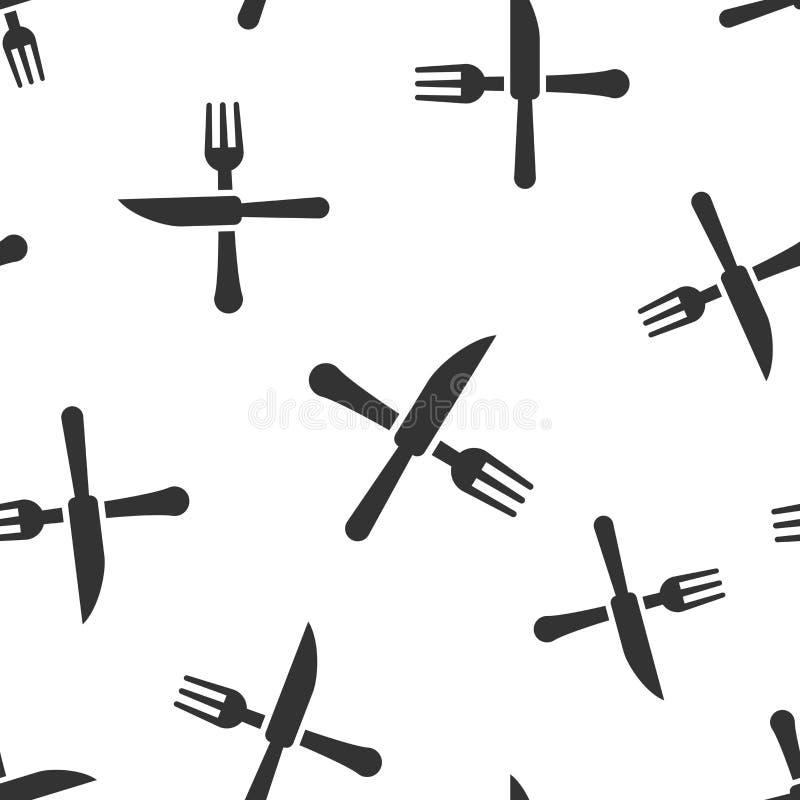 Fundo sem emenda do teste padrão do ícone do restaurante da forquilha e da faca Ilustração do vetor do equipamento do jantar Test ilustração royalty free