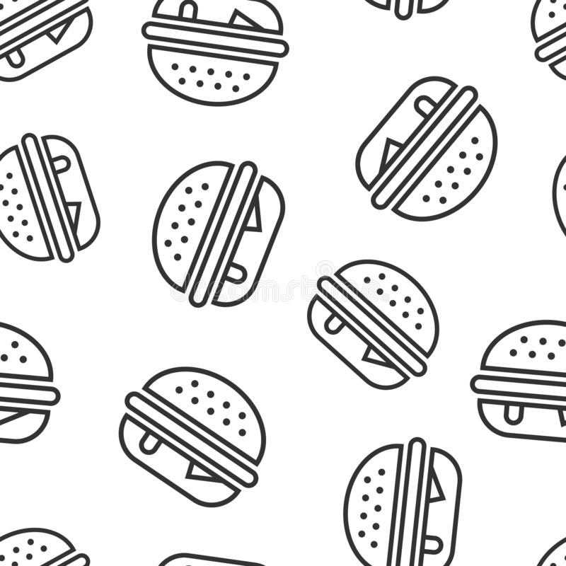 Fundo sem emenda do teste padrão do ícone do sinal do hamburguer Ilustra??o do vetor do Hamburger no fundo isolado branco Negócio ilustração stock