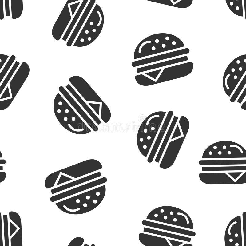 Fundo sem emenda do teste padrão do ícone do sinal do hamburguer Ilustra??o do vetor do Hamburger no fundo isolado branco Negócio ilustração do vetor