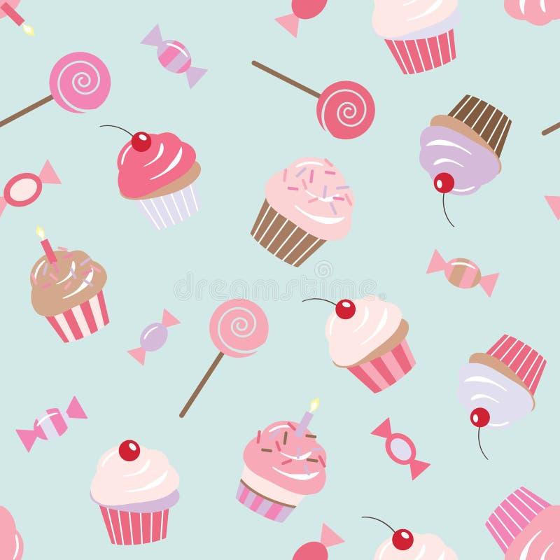Fundo sem emenda do teste padrão do aniversário com queques, doces, doces ilustração stock