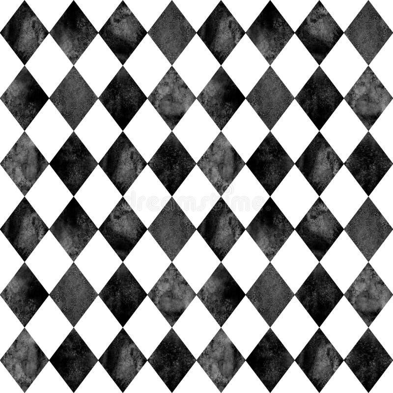 Fundo sem emenda do teste padrão do argyle preto e branco ilustração royalty free