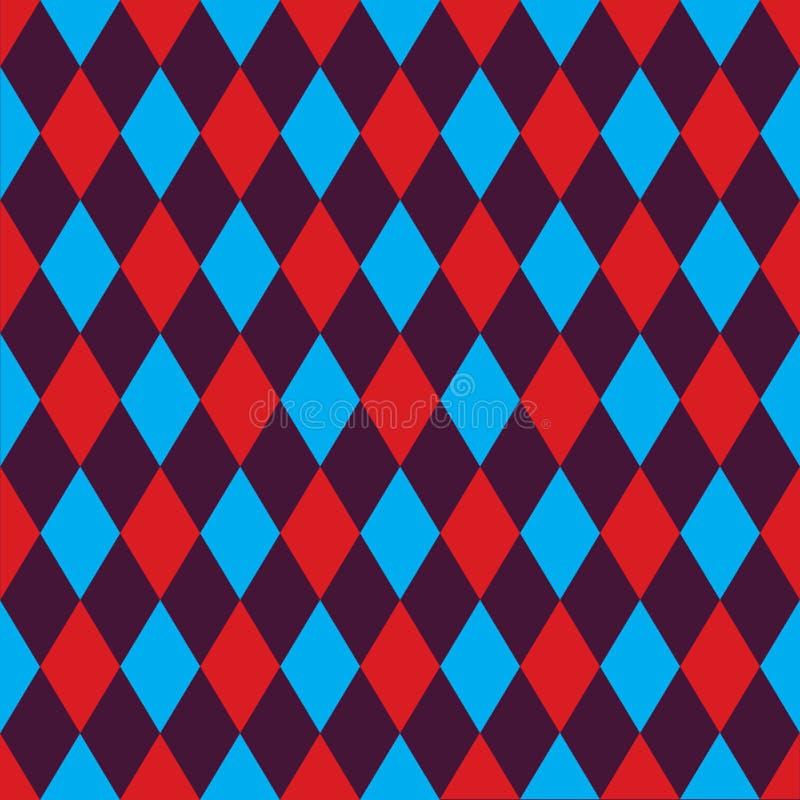 Fundo sem emenda do teste padrão do arlequim em vermelho, em azul e em roxo ilustração do vetor