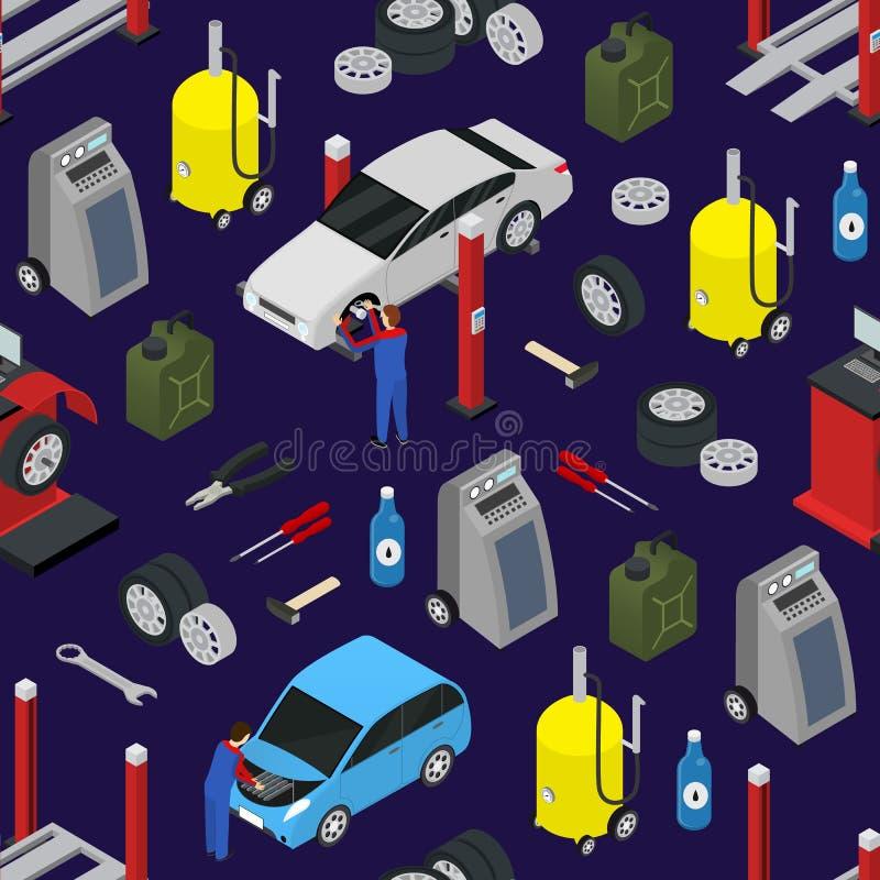 Fundo sem emenda do teste padrão do auto serviço do carro em uma vista isométrica azul Vetor ilustração stock
