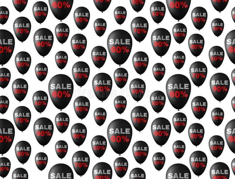 Fundo sem emenda do teste padrão com balões pretos ilustração royalty free