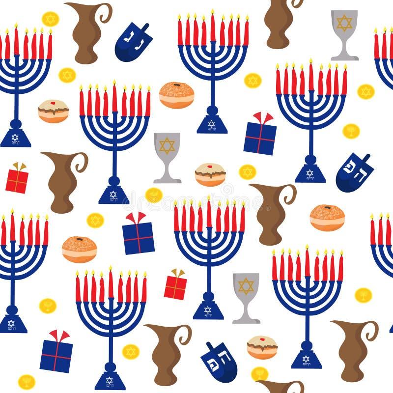 Fundo sem emenda do teste padrão com elementos tradicionais do Hanukkah no estilo liso ilustração royalty free