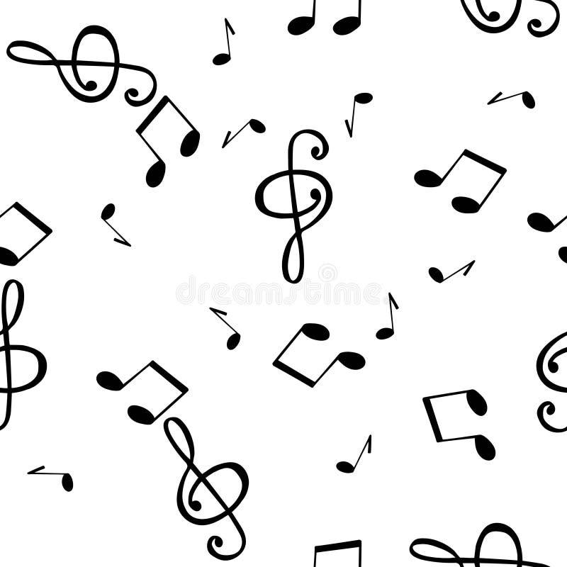 Fundo sem emenda do teste padrão com símbolos musicais ilustração stock