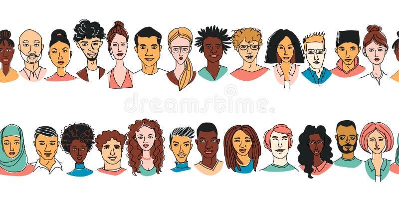 Fundo sem emenda do teste padrão da cabeça dos homens das mulheres diversas decorativas Grupo multi-étnico ilustração royalty free