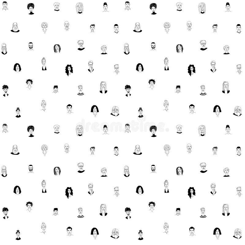 Fundo sem emenda do teste padrão da cabeça dos homens das mulheres diversas decorativas Grupo multi-étnico ilustração do vetor