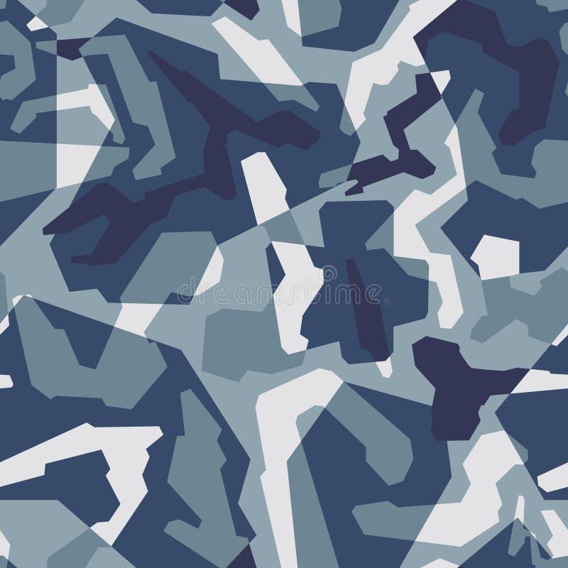 Fundo sem emenda do teste padrão da camuflagem geométrica abstrata com textura marinha azul dos tons ilustração stock