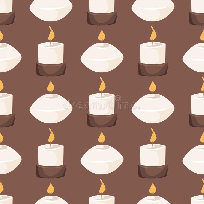 Fundo sem emenda do teste padrão da decoração da queimadura do fogo do aroma do vetor da vela que queima a cera brilhante de inca ilustração royalty free