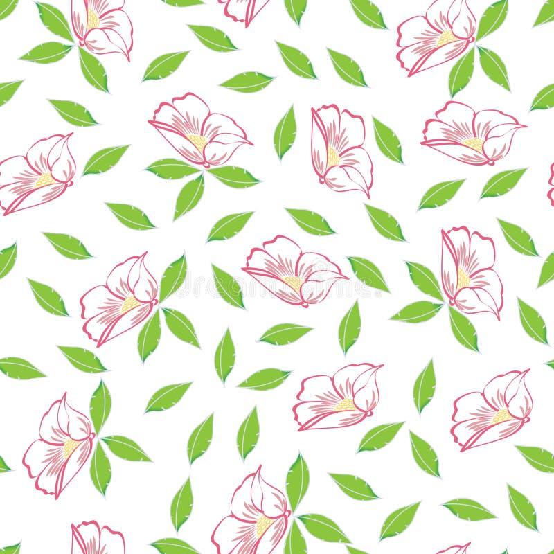 Fundo sem emenda do teste padrão da flor abstrata do rosa ilustração stock
