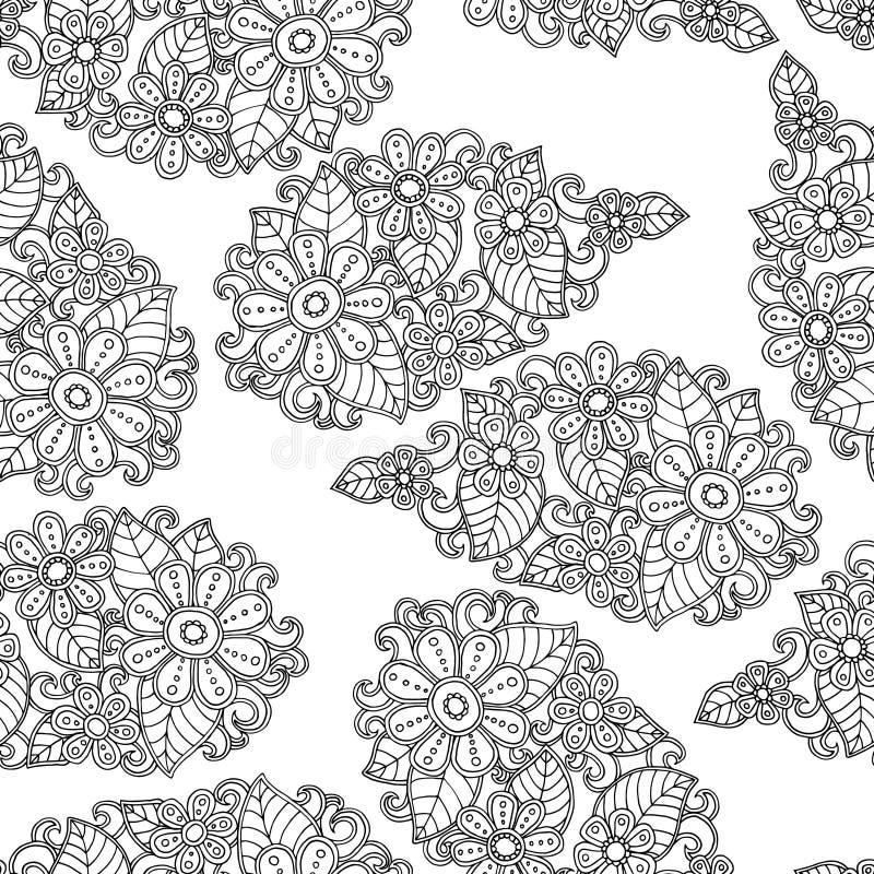 Fundo sem emenda do teste padrão da flor Vetor floral da textura Livro de coloração ilustração do vetor