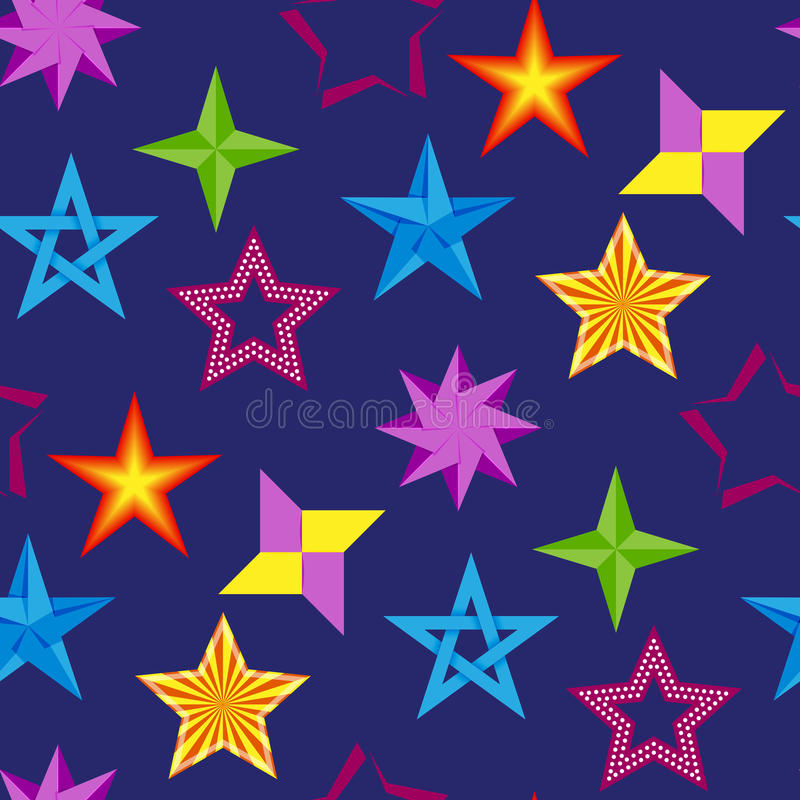 Fundo sem emenda do teste padrão da ilustração brilhante diferente do vetor da coleção dos ícones da estrela da silhueta da forma ilustração royalty free