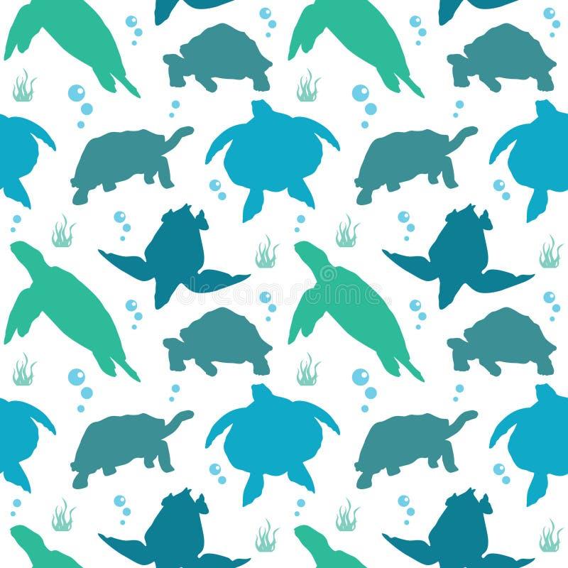 Fundo sem emenda do teste padrão da nadada do réptil da tartaruga da tartaruga ilustração stock