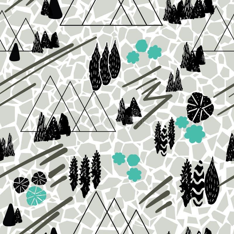 Fundo sem emenda do teste padrão da repetição da cena da montanha do estilo do gráfico de vetor com uma textura rachada do solo L ilustração royalty free