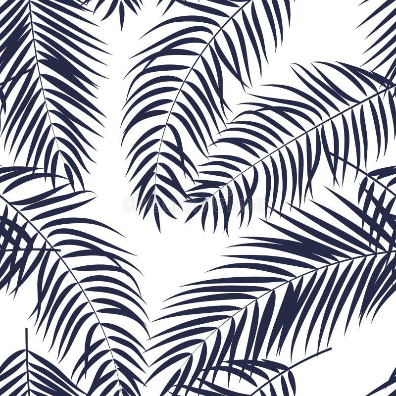 Fundo sem emenda do teste padrão da silhueta bonita da folha da palmeira ilustração do vetor