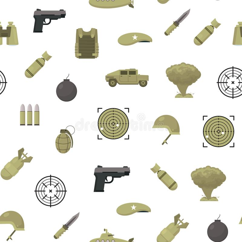 Fundo sem emenda do teste padrão das armas do exército da cor dos desenhos animados Vetor ilustração royalty free
