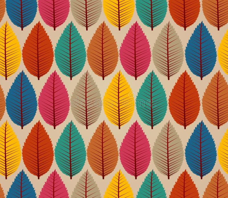 Fundo sem emenda do teste padrão das folhas de outono do vintage. ilustração royalty free