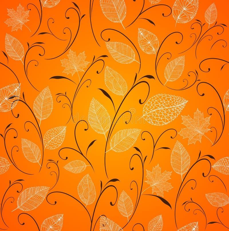 Fundo sem emenda do teste padrão das folhas de outono do vintage. ilustração do vetor