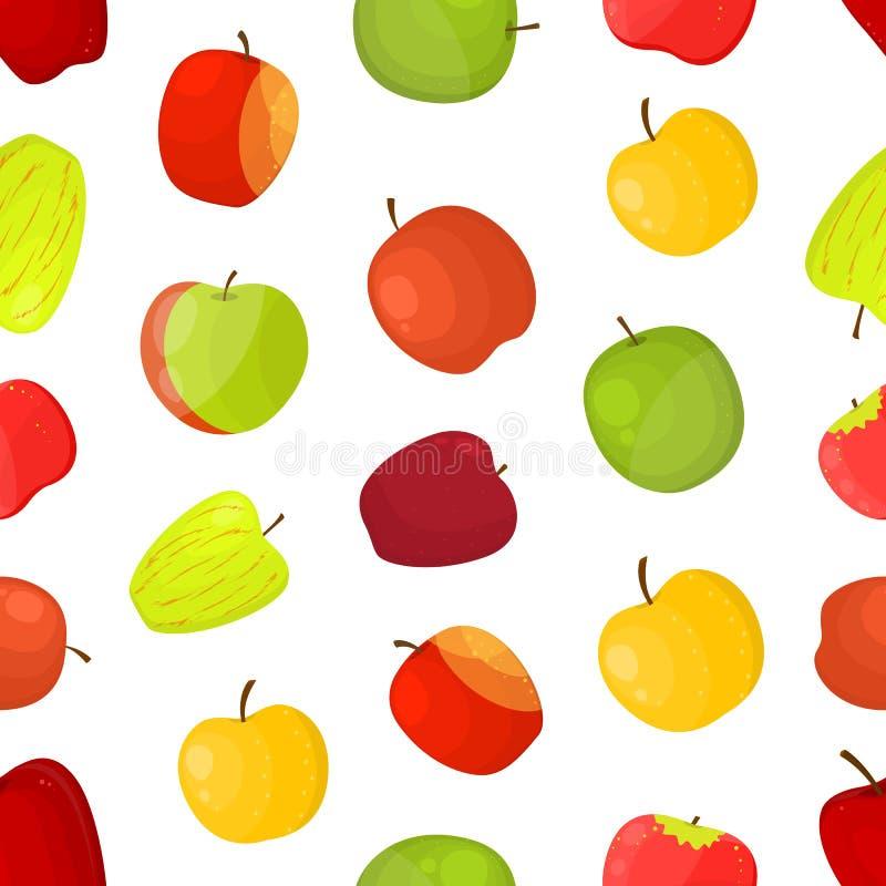 Fundo sem emenda do teste padrão das variedades diferentes das maçãs Vetor ilustração do vetor