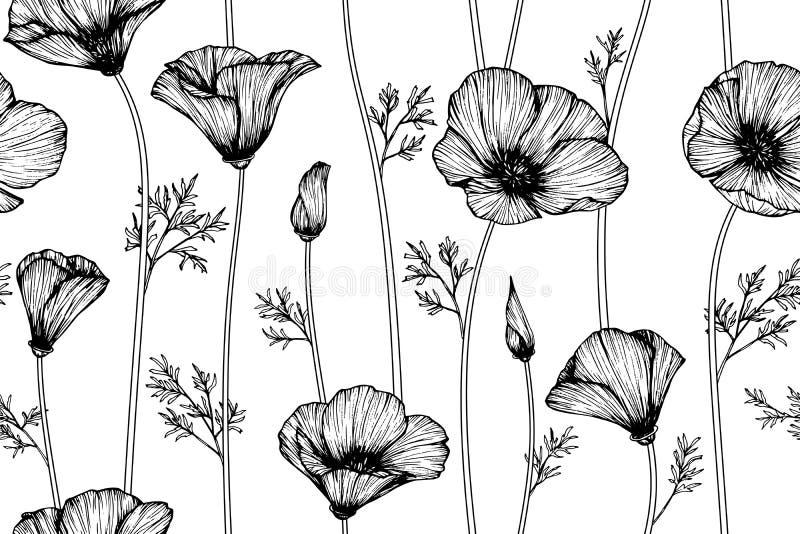 Fundo sem emenda do teste padrão de flor da papoila de Califórnia ilustração royalty free