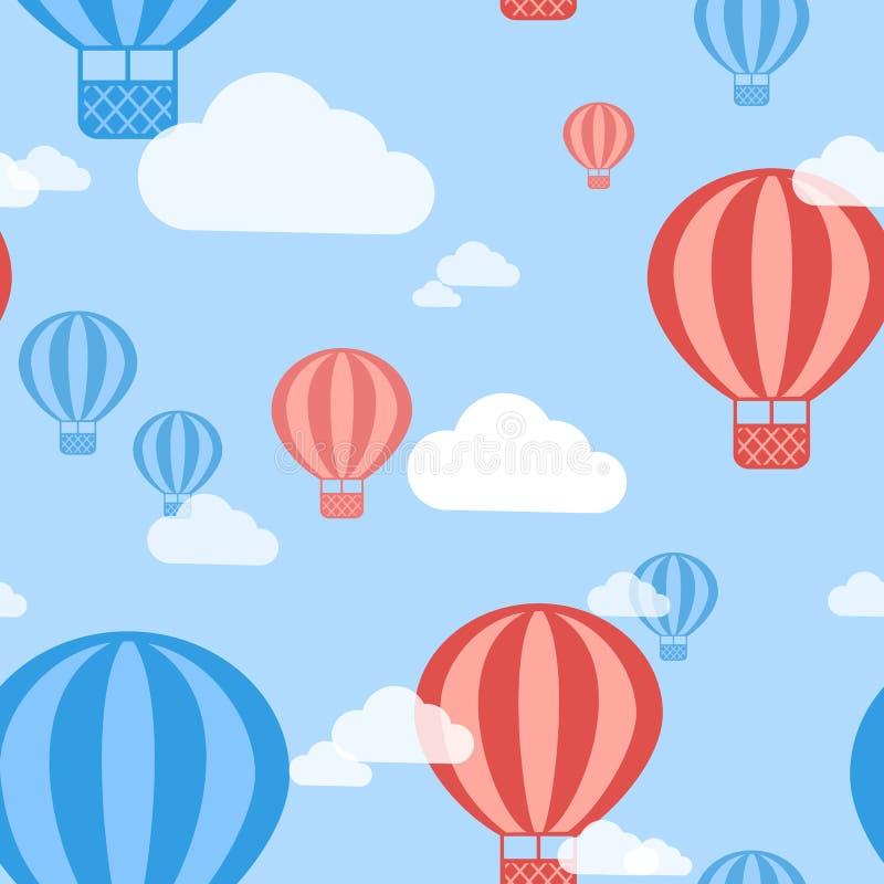 Fundo sem emenda do teste padrão do balão de ar quente do vetor ilustração royalty free