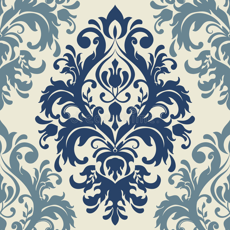 Fundo sem emenda do teste padrão do damasco Ornamento antiquado luxuoso clássico do damasco, textura sem emenda do victorian real ilustração stock
