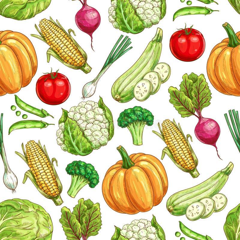 Fundo sem emenda do teste padrão do vegetal e do feijão ilustração do vetor