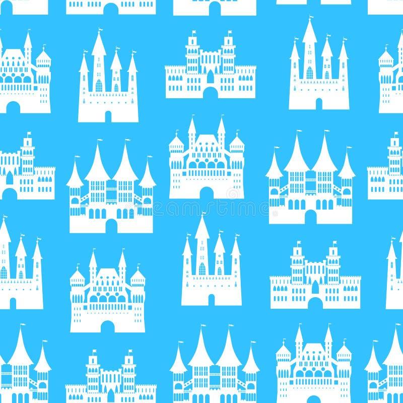 Fundo sem emenda do teste padrão dos castelos velhos medievais dos desenhos animados Vetor ilustração royalty free