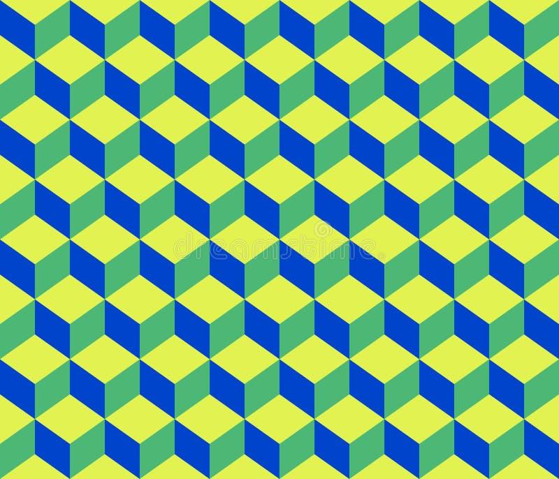 Fundo sem emenda do teste padrão dos cubos geométricos azuis verdes do sumário do contorno ilustração royalty free