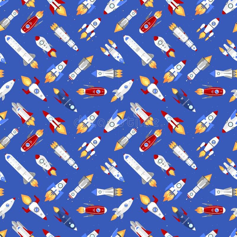 Fundo sem emenda do teste padrão dos desenhos animados da canela do veículo de espaço do foguete do navio da tecnologia da nave e ilustração royalty free