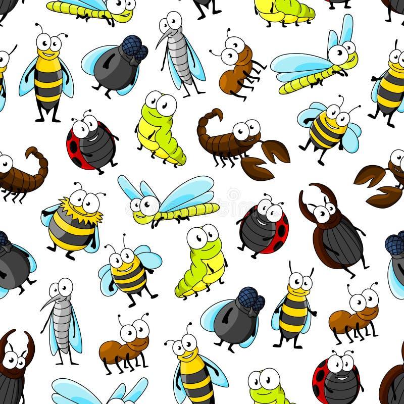 Fundo sem emenda do teste padrão dos insetos e dos erros ilustração do vetor