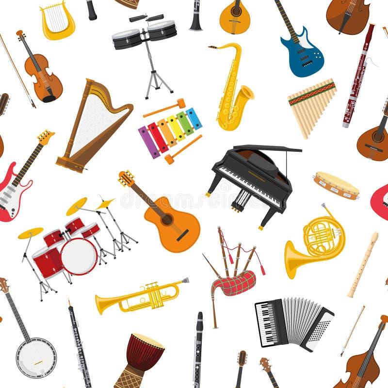 Fundo sem emenda do teste padrão dos instrumentos musicais ilustração do vetor