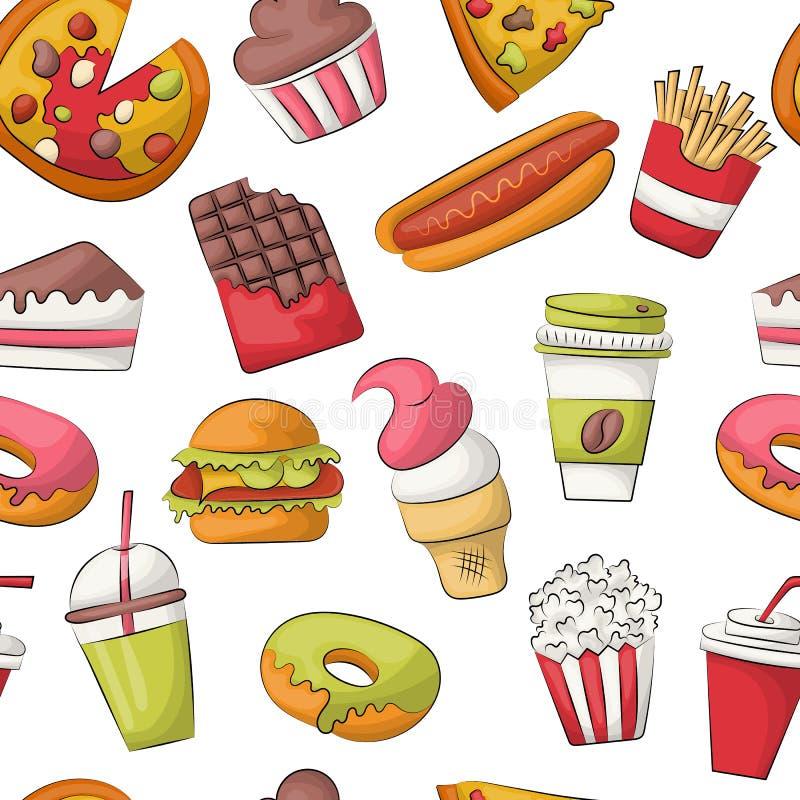 Fundo sem emenda do teste padrão do fast food Decoração do menu do restaurante Repita o contexto para a tampa, papel de envolvime ilustração do vetor